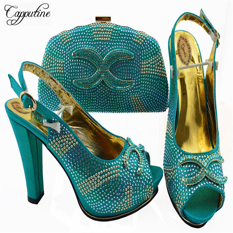 Capputine Nigerian Style Woman Pumps Shoes And Bag Set 2018 New Italian Woman Teal Color Shoes And Bag For Wedding Dress ZS-03 doershow nigerian style woman shoes and bag set latest yellow italian shoes and bag set for party dress free shipping sab1 3