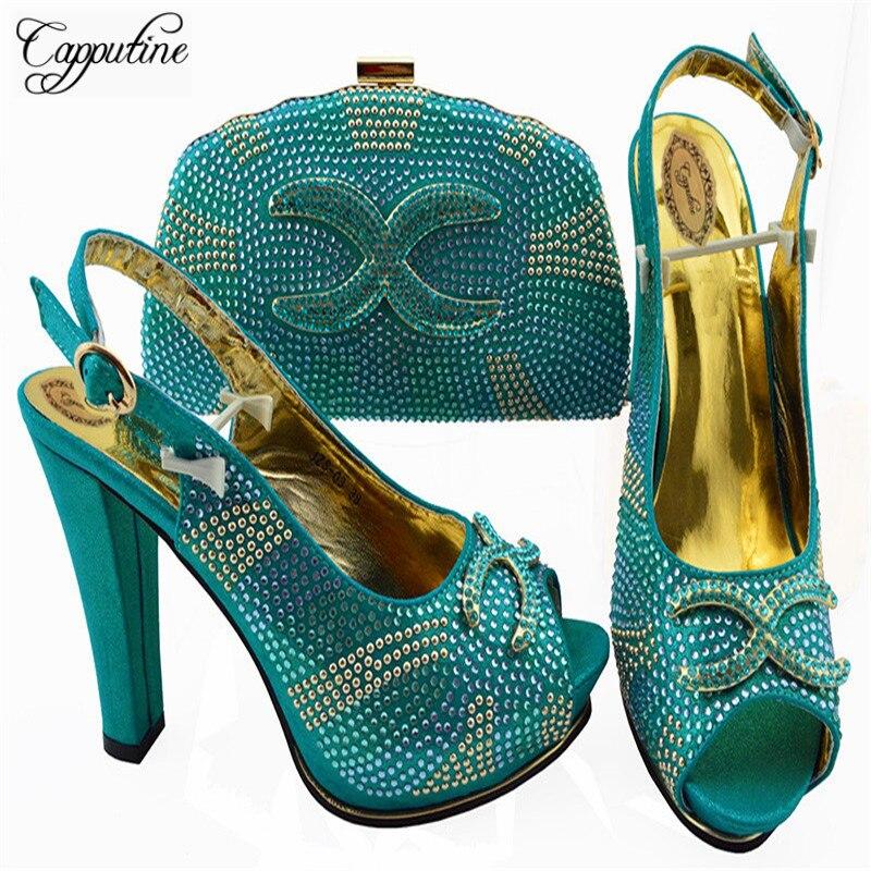 купить Capputine Nigerian Style Woman Pumps Shoes And Bag Set 2018 New Italian Woman Teal Color Shoes And Bag For Wedding Dress ZS-03 по цене 4357.28 рублей