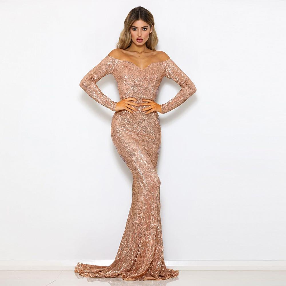 Gold Sequined Long Bridesmaid Maxi Dress Gown Slash Neck Full Sleeved Floor Length Mermaid Dress