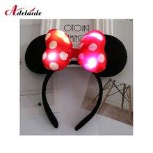 Светодиодный головной убор уши Минни-Маус светящийся ободок аксессуары для детей светодиодный свет аксессуары для волос красочные огни игрушки