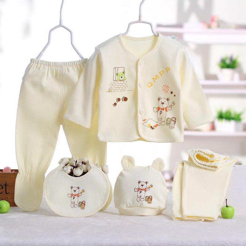 5pcs/set Newborn Clothing Set + Hat + Bib Cartoon Printed Baby Boy/Girl Clothing Set 0-3M newborn baby boy girl 5 pcs clothing set cotton cartoon monk tops pants bib hats infant clothes 0 3 months hight quality