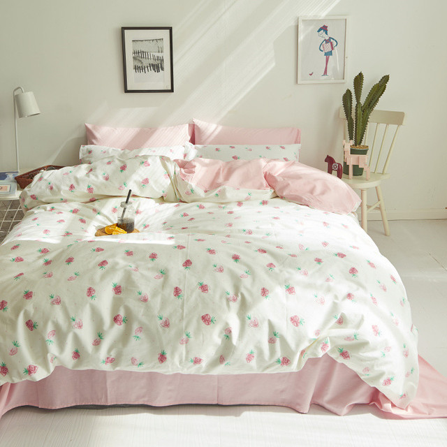 Delightful Cute Strawberry Duvet Cover Set 100% Cotton Bedding Sets Pink Bed Sheet  Pillow Cases Twin