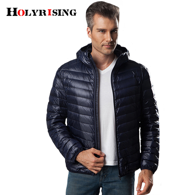 Holyrising Winter Coat Men Light Duck Down Jaket Turn Collar Coat For Men Hooded Down Coat Zipper Mens Clothing S-6XL 18446-5