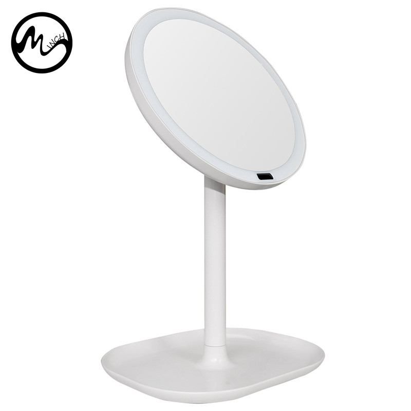 MINCH LED Makeup Mirror Double-sided Rotating Circular USB Lighted Vanity Mirror Touch Screen Portable White Tabletop Lamp