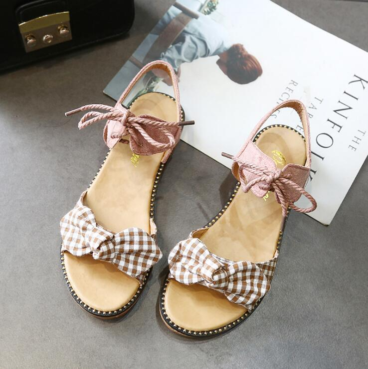 XDA Fashion Sandals Women Flats 2019 Summer bow-knot sandals Ladies lace-up Beach Sandals Cute student casual women shoes E113 4