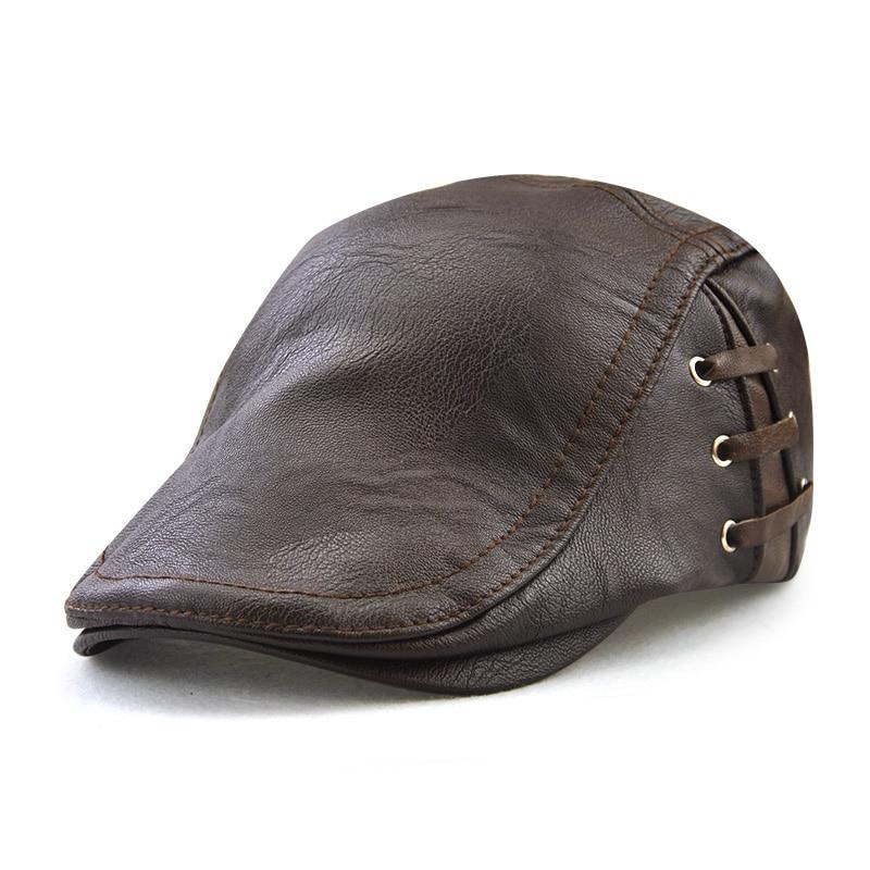 Marca PU cuero Gorras para hombres moda hombres boinas sombreros otoño  Casual tapa 6ad316c3dc7