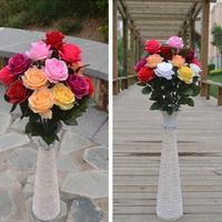Prix de gros 12 pc/lote Simulation soie roses décoré à la main roses de soie mariage têtes de fleurs plantes artificielles 306