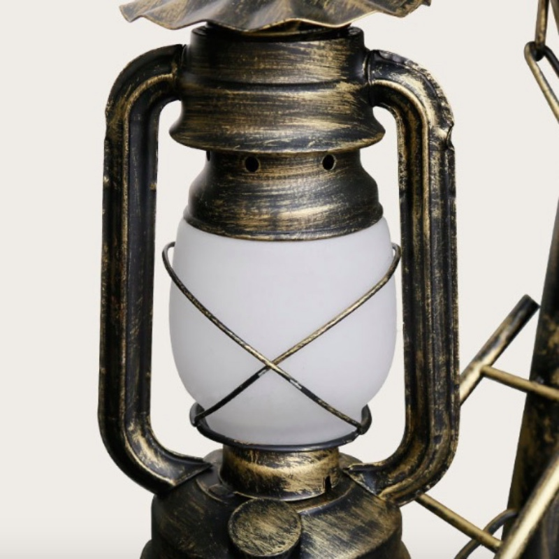 Creative Exotic Classical Retro Lantern Iron Glass Led E27 Table Lamp for Living room Bar Restaurant Tes House Deco H 54cm 1785