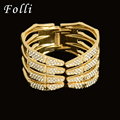 Folli Fashion Brand Dubai African Jewelry H Bracelets Bangles For Girl Crystay Punk Rock Crystal Cuff Bangle Jewelry  Wide 56MM
