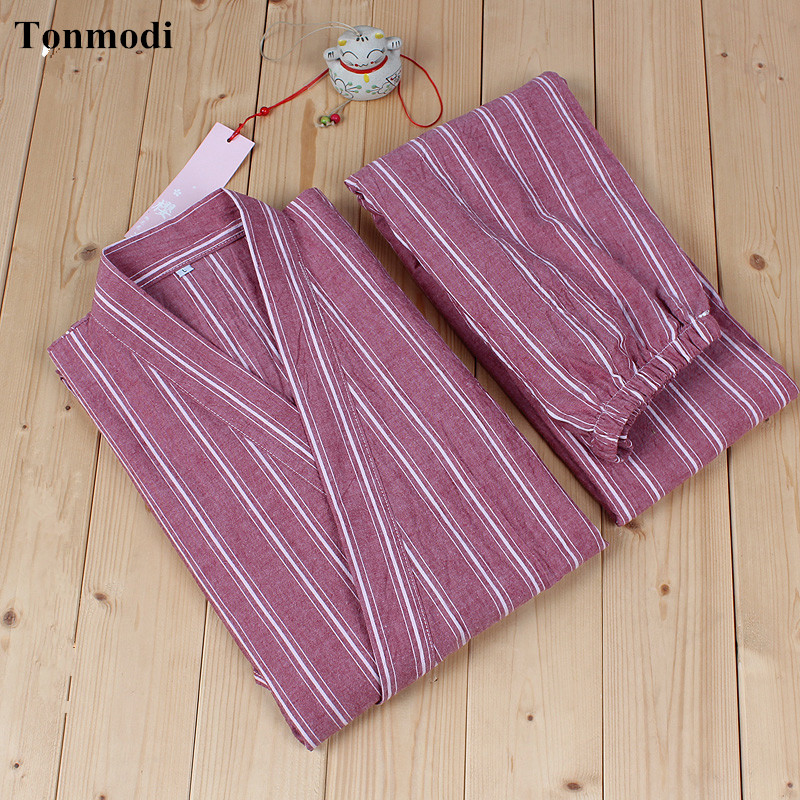 Japanese Style Kimono Cotton Long sleeves trousers kimono Men And Women Match Pajama Set stripe pajamas Female