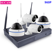 SUCAM 960P 4CH Wifi CCTV Set Outdoor and Indoor Wireless Camera 1.3MP Plug and Play IP Pro Wifi Security Camera Kit for House