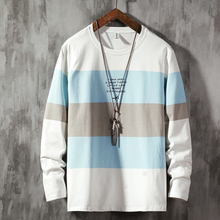 Hit Color Spliced Male Long Sleeve T-Shirt Casual Printing Mens T-Shirts O-Neck Autumn Comfortable