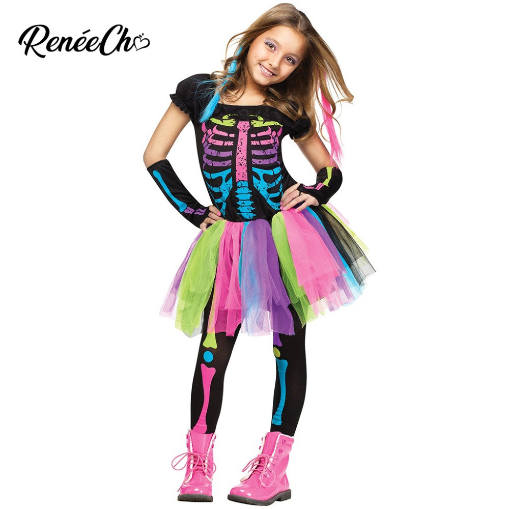 Halloween Costume For Kids Girls Funky Punky Bones Costume Child 2018  Skeleton Rocker Cosplay Tutu Dress Fancy Dress Costume