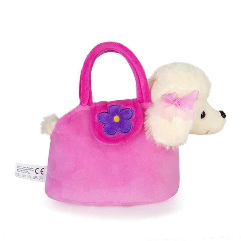 Lazada peluche cachorro juguetes peluche perro perrito muñecas con bolsa de mano rosa para niños niñas 7''
