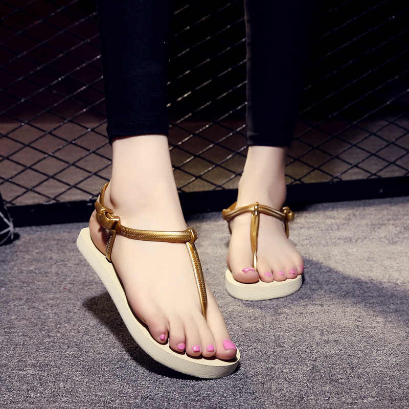 female summer pure color personality cool slippers female non-skid casual level with flip-flops female students CLIP beach shoes