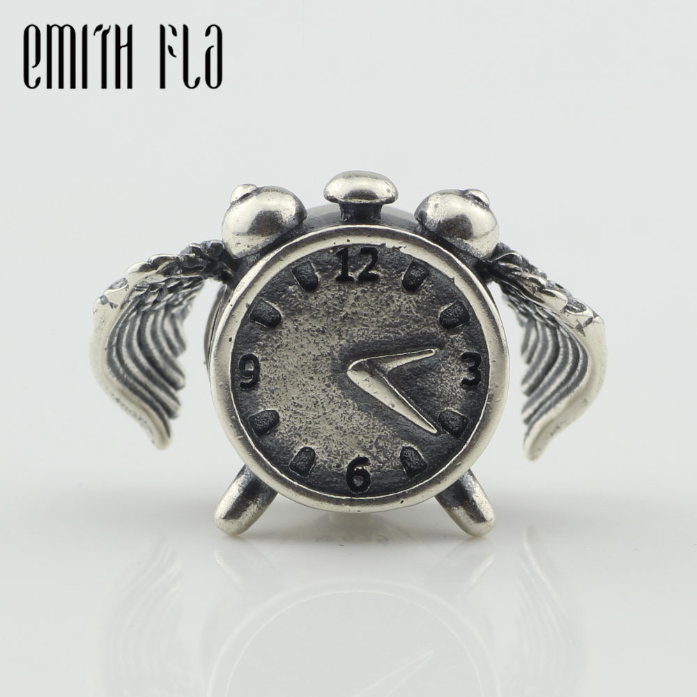 Emith Fla Genuine 925 Sterling Silver Time Flies Charm Beads Fit Original Brand Bracelet Jewelry Vintage Bead for Jewelry Making