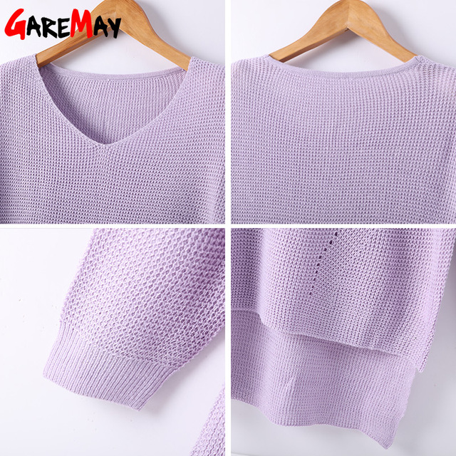 Garemay Women Sweaters And Pullovers Long Knitted Female Sweater V Neck Knitwear Long Sleeve Jersey Off Shoulder Sweaters Pull