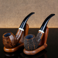 Classic Bent Briar Smoking Pipe Free Tools Gift Set 9mm Filter Tobacco Pipe Many Choice White Ring Octagon Briar Wood Pipe Set
