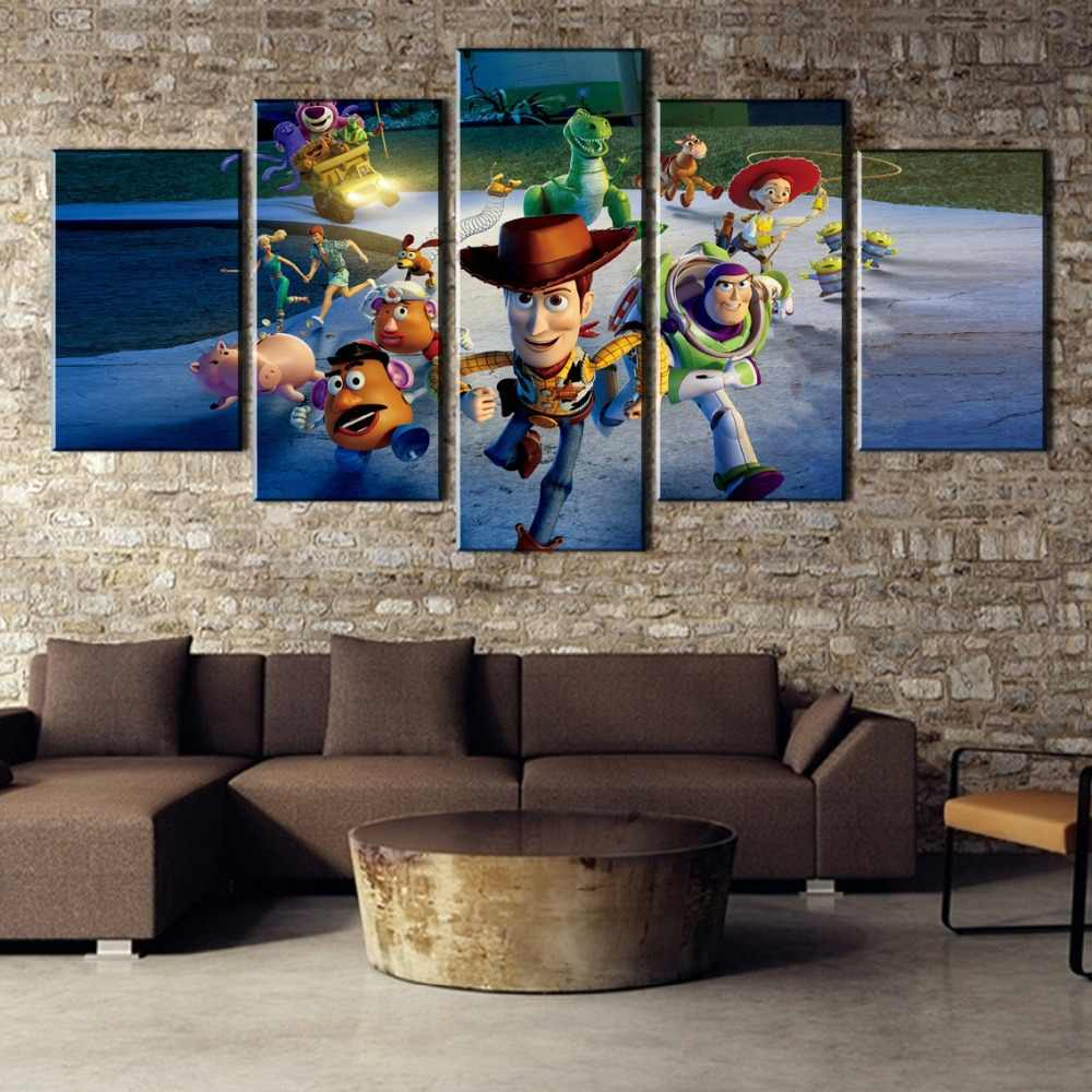 HD Printed 5 Pieces Toy Story Painting Canvas Wall Art Picture Home Decoration Living Room Canvas Painting Wall Art Decor