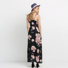 HDY Haoduoyi Fashion Floral Print Dress Women Backless Split Maxi Dress Deep V-neck Sexy Party Dress Casual Bohemian Dresses