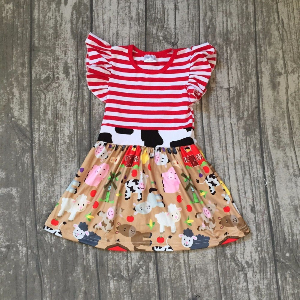 new arrival summer cotton baby girls kids boutique clothes dress sets farm chick reindeer Cow sheep print ruffles red stripes xmas white tank top 6th sparkle red birthday number print red snowflakes ruffles