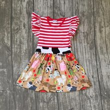 6697ae3af new arrival summer cotton baby girls kids boutique clothes dress sets farm  chick reindeer Cow sheep print ruffles red stripes