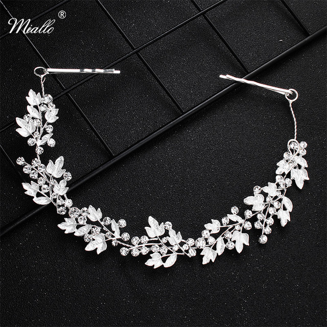 Miallo Newest White Crystal Alloy Leaves Hair Vine Bridal Head Ornaments Wedding Hair Jewelry Accessories Tiaras and Crowns