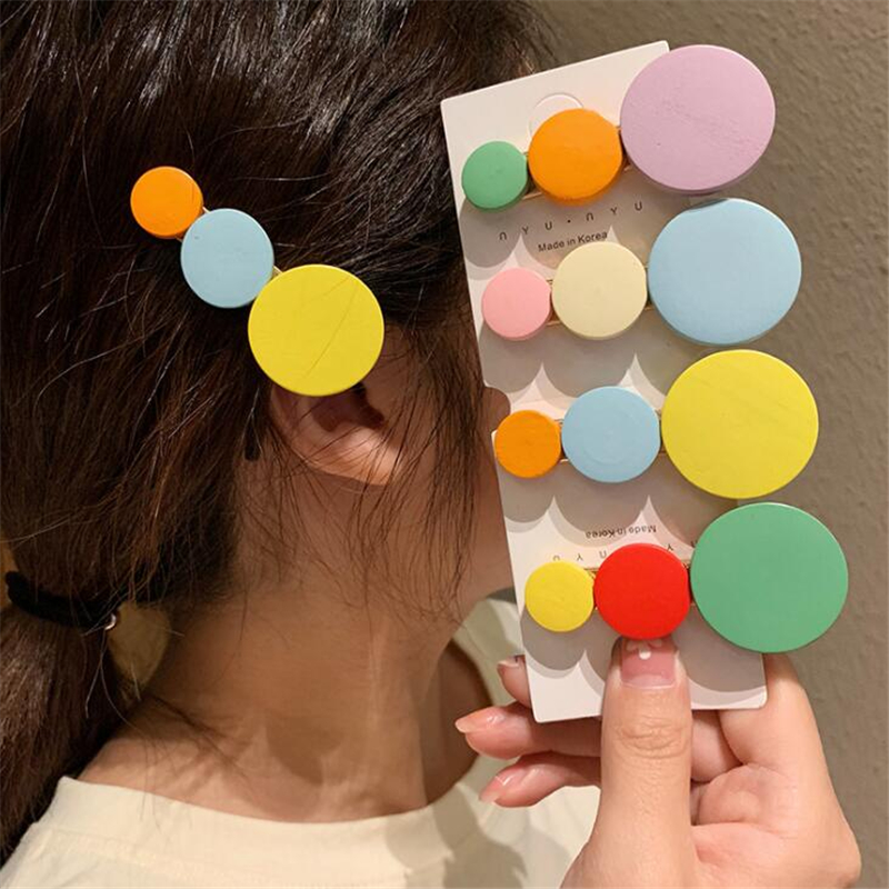 New Lovely Children Girls Wooden Candy Color Korean Style Hair Clips Hairpins Kids Girls Cute Rainbow Barrettes Hair Accessories