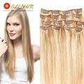 """ELI clip en productos conjuntos 7 unids clip en extensiones de cabello humano de 14 """"-24"""" recta color natural 7A grado extensiones de cabello humano"""