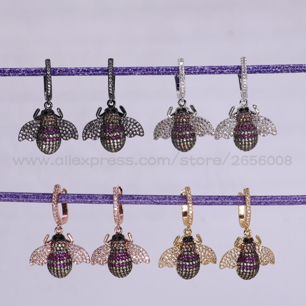 New 4 Pairs High quality Micro pave CZ Tiny Bee insect earrings lifelike insect jewelry fashion