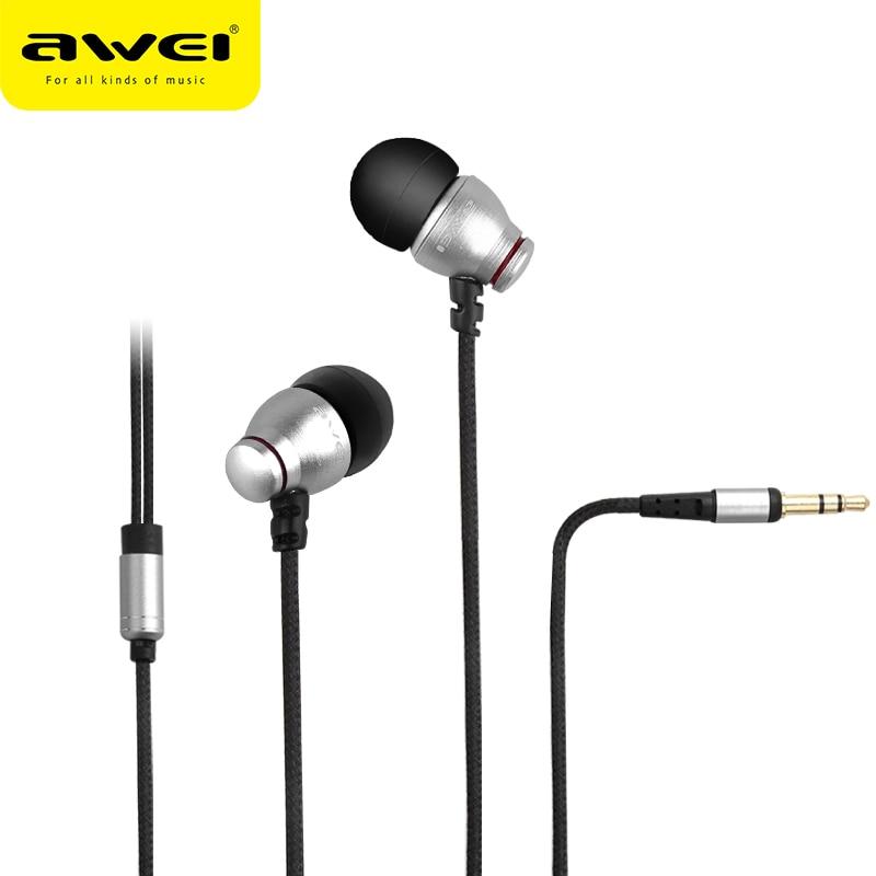 AWEI ES Q6 vadu austiņas priekš iPhone Samsung Huawei stereo austiņas Super bass skaņas austiņas tālruņa MP3 MP4 atskaņotājiem