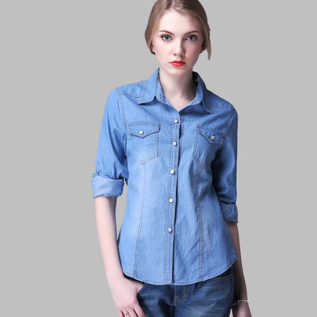 2018 Novas Mulheres Denim Camisa Chemise Femme Jean Calça Jeans Blusa Manga  Longa Plus Size Blusa 6db36b8e0e9