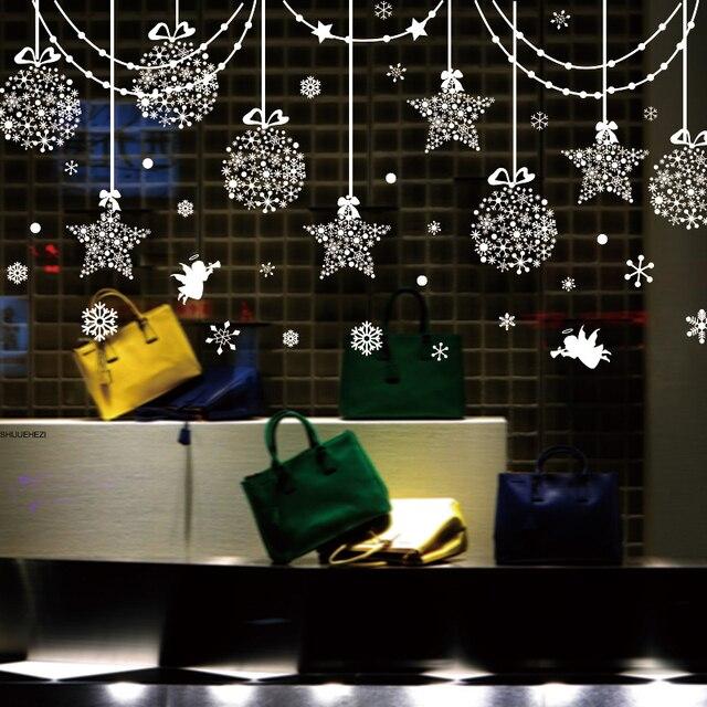 [SHIJUEHEZI] Звезды снежинки ангел стекло наклейки DIY Рождество наклейки на стену для гостиная витрину фестиваля украшения