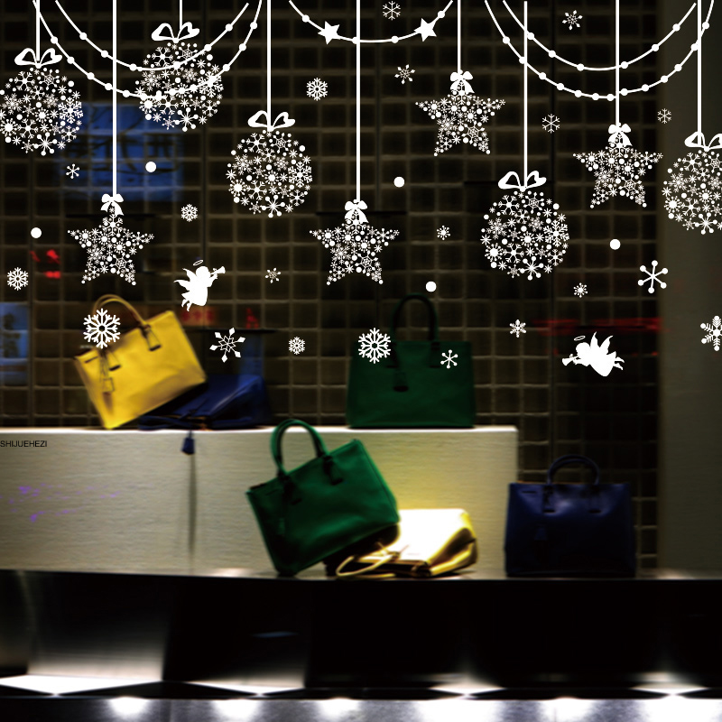 Shijuehezi Fashion Window Decorative Stickers Vinyl Material Star Snow Angel Home Decor For Family Mutfak Duvar Room Shop Decor