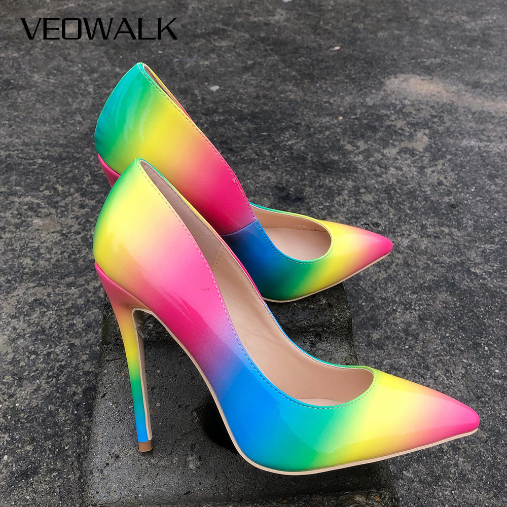 Veowalk Rainbow Colorful Patent Leather Women Sexy Stiletto Extemely High Heels, Ladies Fashion Pointed Toe Pumps Party Shoes