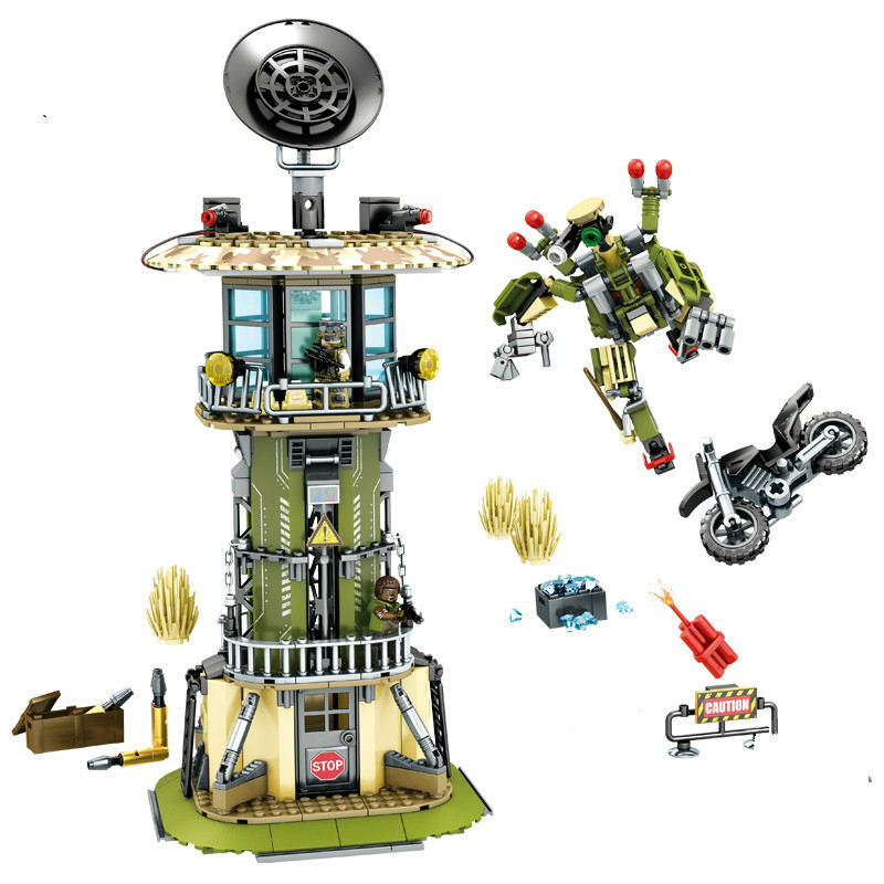 651pcs Military Watchtower Building Blocks Sembo Compatible Lepins Technic Robot Enlighten Brick Figures Toy for Children Friend цена и фото