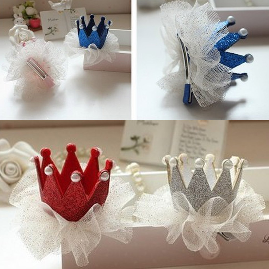 Modern Ornament Accessories Girl Hairpin Crown Pearl Princess Hair Clip Party Accessories Headwear in Women 39 s Hair Accessories from Apparel Accessories