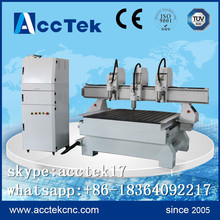 Good price triple heads cnc wood lathe machine, cnc carving machine for wood