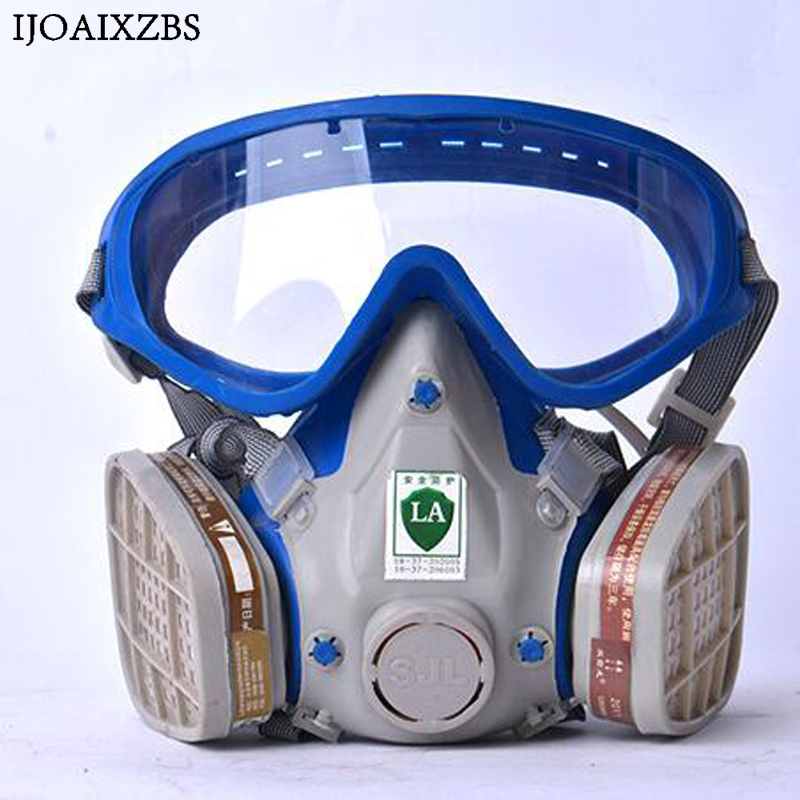 Dust Mask Respirator Filter Industrial Safety Protection Anti Construction Pollen Haze Poison Gas Family & Professional Site new safurance protection filter dual gas mask chemical gas anti dust paint respirator face mask with goggles workplace safety