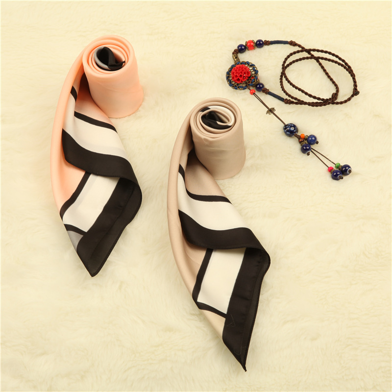 CW imitation silk scarf striped lattice handkerchief napkin square scarf for woman working four seasons wearing 60 * 60 CM