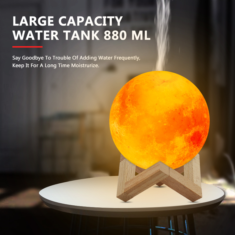 New 880ML Air Humidifier 3D Moon Lamp Light Diffuser Aroma Essential Oil USB Ultrasonic Humidificador Night Cool Mist Purifier