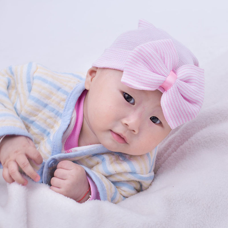 Top Quality Baby Girls Infant Striped Cap Hospital Newborn Soft Bow Beanie Hat Gifts