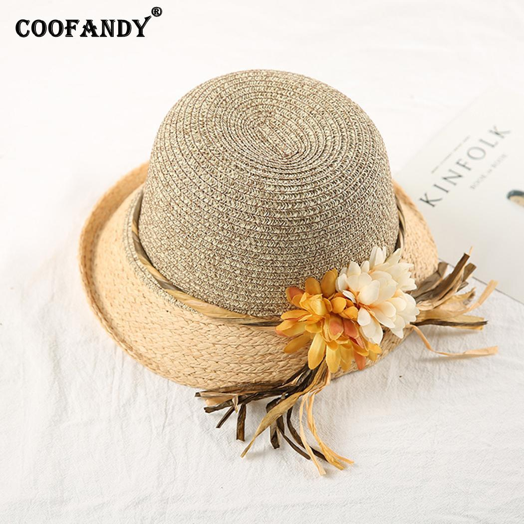 Women Fashion Summer Round Floral Sunscreen Ultraviolet Solid Beach Hat Beige, Pink, Coffee(China)