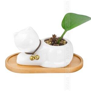 Image 4 - WITUSE 12 stylowe pudełka na kwiatki spodek ceramiczna doniczka na sukulenty donice na rośliny stojak bambusowy pulpit geometria szkliwiony wazon taca bambusowa
