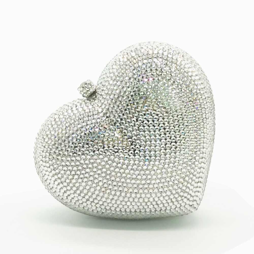 Женский красный/черный/ярко-розовый/зеленый/белый/Серебряный в форме сердца с кристаллами из бриллиантов сумка Рождественские подарки женские кошельки сумочки