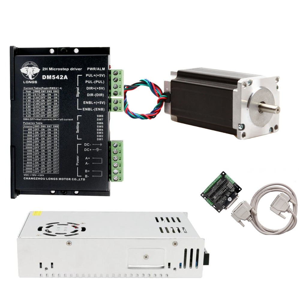 EU Free Ship 1Axis Stepper Motor Nema23 4.2A 435oz.in 57BYGH High Torque with Driver <font><b>DM542A</b></font> Controller Board CNC kits image