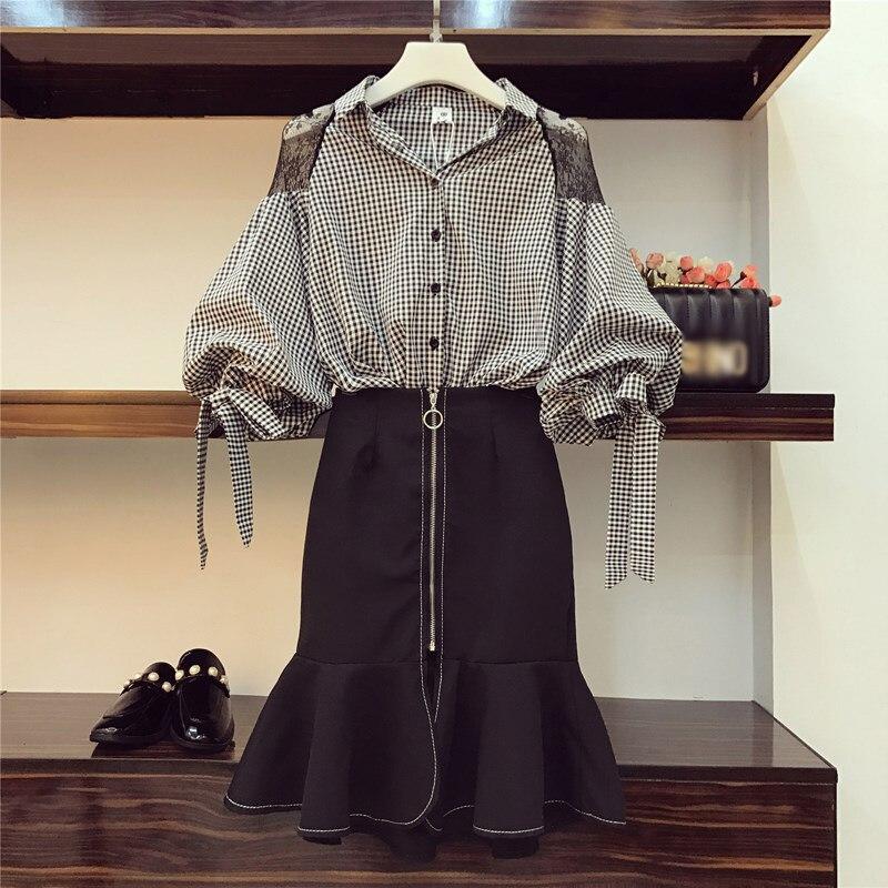 Spring Two Piece Set Women 2020 Summer Fashion Plaid Blouse Skirt Ruffles 2 Piece Set Outfit Clothes Ensemble Femme Plus Size