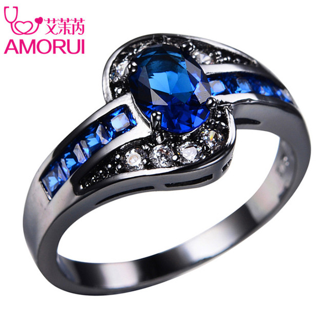 Amorui Vintage Gold Black Color Royal Blue Green Cz Wedding Rings For Women Men Jewelry