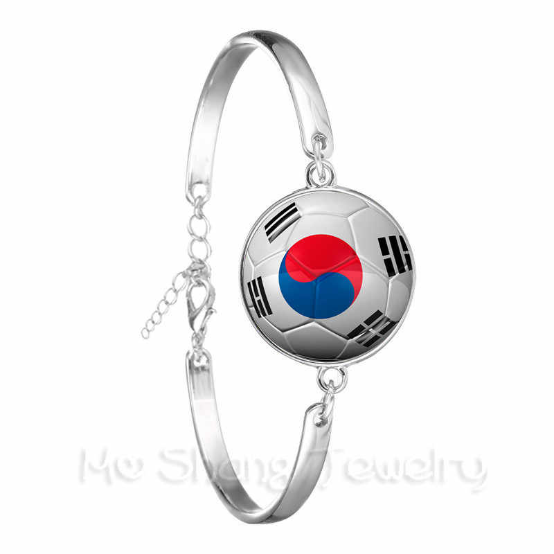 2018 nueva pulsera de fútbol Copa Mundial Bandera Nacional Bélgica, Brasil, México, Marruecos, Perú, Croacia, brazalete de recuerdos de fútbol de Corea