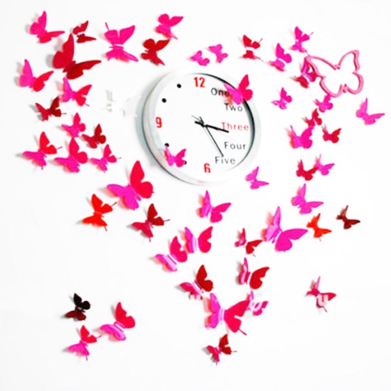 3D Butterflies Wall Stickers Home Decoration PVC Clock Wall Sticker For Kids Room Decor Girl Flower Wall Decal Kitchen Fridge
